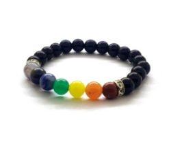 Wholesale 7 Chakra Black Agate Charm Bracelet For Sale