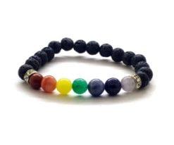 Wholesale 7 Chakra Lava Stone Charm Bracelet For Sale