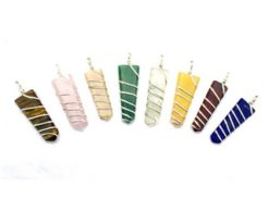 Wholesale Mix Gemstone Flat Point Wire Wrapped Pendant For Sale