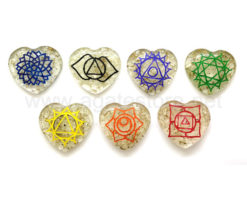7 Chakra Engraved Orgone Heart Set